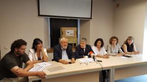 Joan Alabern, durant la seva intervenció a la roda de premsa que ha tingut lloc al Centre de l'Aigua de Can Font, a Manresa, equipament integrat al Parc de la Sèquia.